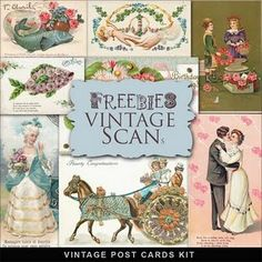 Freebie vintage post cards from Far Far Hill