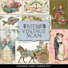 Freebie vintage post cards from Far Far Hill