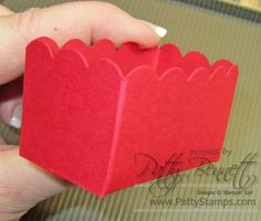 Cut out scallop square with die and Big Shot and score per below: