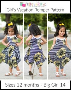 The Girl's Vacation Romper PDF Sewing Pattern is so comfortable, your little one will not want to take it off!  It features optional side seam pockets and shoulder ties!  I love the shape of this romper and I hope you do too! Sizes: This PDF sewing pattern comes in sizes 12 months - big girl 14.    Fabric Recommendat