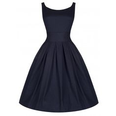 'Lana' Stunning Midnight Blue 50's Starlet Style Dress With Waspie... (48 SGD) ❤ liked on Polyvore featuring dresses, blue, cinch belt, flare dress, vintage day dress, print dress and petticoat dress