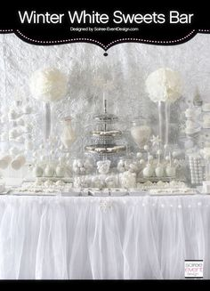 Winter White Bridal Shower Sweets Table designed by Soiree-EventDesign.com featuring LOTS of gourmet sweets from the hottest sweets vendors!