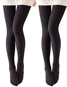 Vero Monte 2 Pairs Womens Modal  Cotton Opaque Knitted Patterned Tights Black *** Be sure to check out this awesome product.