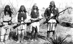 Apache Chief Geronimo (right) and his warriors in 1886...