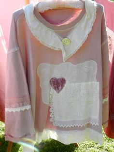 An angel in the garden  Upcycle with sweatshirts and vintage fabric pieces