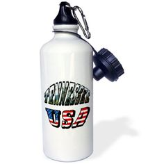 3dRose Picture and USA Flag Text for Tennessee, Sports Water Bottle, 21oz