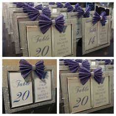 Double Sided  Personalized Rhinestone Bling Wedding Table Number Frame with bow- any color via Etsy