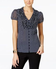 INC International Concepts Ruffled Polka-Dot Blouse, Only at Macy's - Tops - Women - Macy's