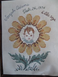 Vintage Embroidery Kit Daisy Birth Announcement by CatBazaar