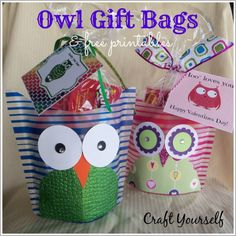Owl Gift Bags Tutorial with  Printables