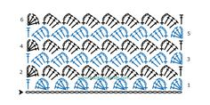 Slanted Shell Stitch Crochet Chart Pattern created using the HookinCrochet Crochet Symbols Font Software