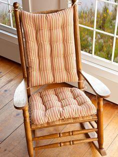 Yellow Stripe Rocking Chair Cushions #stripe #red #yellow