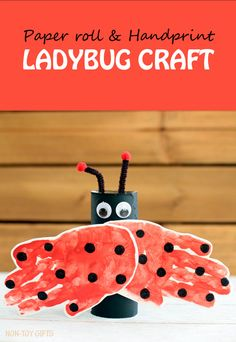 A handprint and paper roll ladybug craft for kids. It is an easy spring craft or for learning about insects. | at Non-Toy Gifts