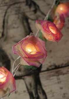 Natural Leaf Pink Roses Flower String Lights