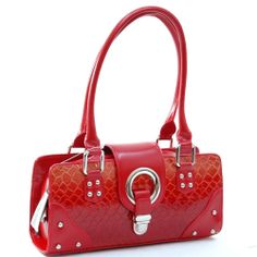 Patent Leatherette Snake Skin Shoulder Bag