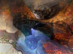 Pool with Arch, Glen Brittle by BETH ROBERTSON FIDDES mixed media, 91cm x 122cm