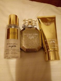 Vs bombshell nights petfume 1 7 oz sprayed maybe twice vs glitter body mist 2 5 oz barely used and vs lotion used also twice 3 4 oz Victoria Secret Fragrances, Victoria Secret Perfume, Parfum Victoria's Secret, Victoria Secret Body Spray, Bath And Body Works Perfume, Perfume Scents, Pink Perfume, Body Mist, Smell Good
