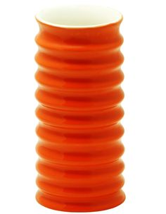 "Bright Encounters – Handmade 6.6"" Ceramic Flower #Vase/ Planter/ Pot with Ribbed Spirals in Orange"