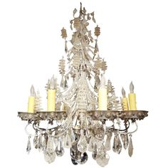 French Baguès Eight-Light Beaded and Crystal Chandelier | From a unique collection of antique and modern chandeliers and pendants at…