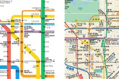 "The New York City Subway Map| Vignelli's on the left and the current map (designed by committee) on the right. Vignelli's was cited as ""too abstract for the citizens of New York City"""