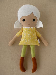 Fabric Doll Stuffed Toy Rag Doll Cloth Doll Girl with White Hair