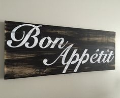 Rustic Wall Decor Bon Appetit Sign b/w by BeautifyMyHouseShop