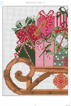 Sleigh 1 of 2 Xmas Cross Stitch, Cross Stitch Love, Cross Stitch Needles, Cross Stitch Charts, Cross Stitch Designs, Cross Stitching, Cross Stitch Embroidery, Cross Stitch Patterns, Loom Patterns