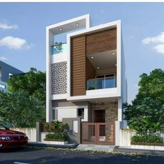 You Should Do To Find Out About House Elevation Design Indian Before You're Left Behind 44 Modern Exterior House Designs, Small House Exteriors, Modern House Facades, Bungalow Exterior, Architecture Building Design, Home Building Design, Facade Design, Architecture Interiors, 3 Storey House Design