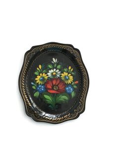 Tole Tray Small Vintage Floral Design Gold Trim