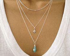 3 Silver Layering Necklaces uk Shop ALSO IN GOLD by PABJewellery