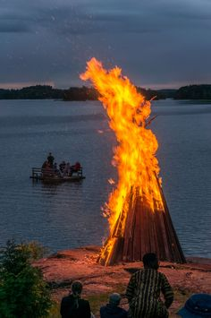 Traditional midsummer bonfire in Finland #Finland #Nature