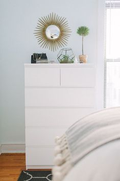 The Ultimate IKEA Shopping List: 9 Cheap, Chic Classics: Malm chest and dressers Ikea Bedroom, Bedroom Dressers, White Dressers, White Bedroom, Mirror Bedroom, Cheap White Dresser, Tall White Dresser, Bedroom Furniture, Bedroom Decor