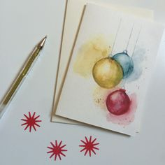 Christmas Bauble Card, Watercolour Christmas Card, Christmas Card by PurpleberryDesign on Etsy https://www.etsy.com/listing/481759889/christmas-bauble-card-watercolour