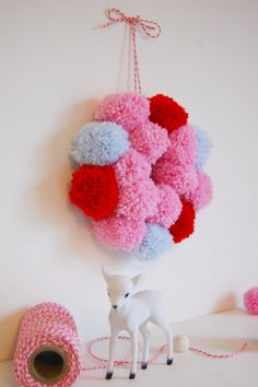 Kitsch Christmas Pom Pom Wreath