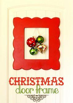 Framed Christmas Door Wreath - CUTE! { lilluna.com }