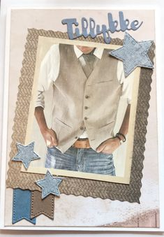 Tillykke Men's Cards, Boy Cards, Denim Button Up, Button Up Shirts, Scrapbook Pages, Scrapbooking, Marianne Design, Masculine Cards, Projects To Try