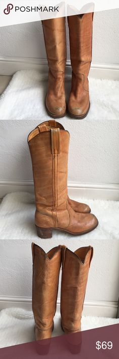 Vintage Frye Boots size 10 Vintage Frye Tall Boots size 10. Leather has signs of wear and patina due to age. Soles and heels are in great condition as well. Heel measures 2 1/4 inches. Please look at pictures for better reference. Happy shopping!! Frye Shoes Heeled Boots