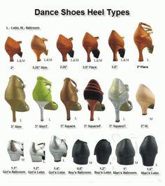 Ballroom dance shoes heel types