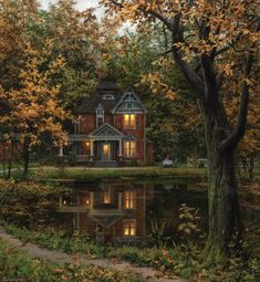 oil paintings Future House, Beautiful Homes, Beautiful Places, House Beautiful, Beautiful Pictures, Smell Of Rain, Big Garden, Autumn Painting, Painting Canvas