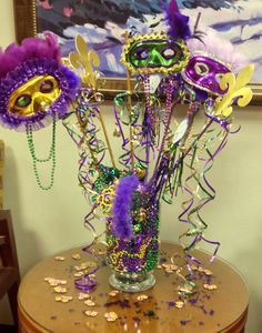 This is another piece I put together for our clinic Mardi Gras decor.  This was super fun making the masks.