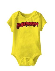 WWE Bodysuit, WWE Baby Bodysuit, Hulk Hogan Hulkamania Yellow