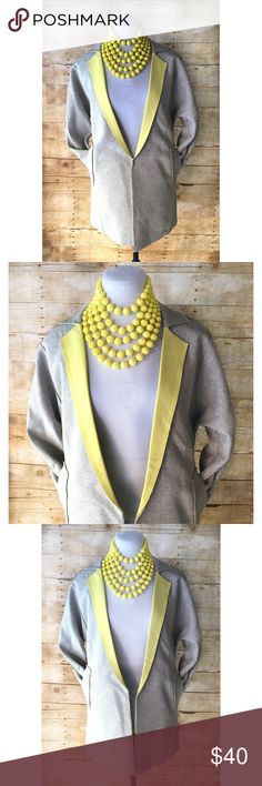 Gray & Yellow Tweed Fashion Blazer Super stylish Blazer in gray tweed with bright yellow lapel, accents & inside. Features 3/4 sleeves & open front. In excellent condition. Lianbaidu Jackets & Coats Blazers