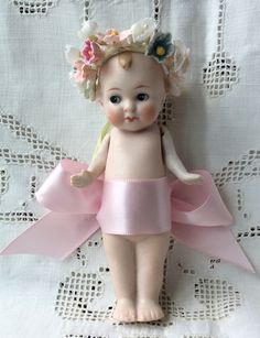 "Antique 4.5"" All Bisque German ""Cupid"" Doll as Pink Fairy 10704 Imp Sprite Cupie 