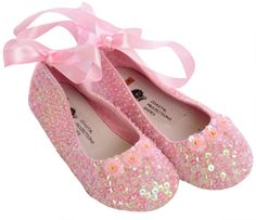 Coastal Projections Pink Sequin Flats-Little Girl Shoes with Satin Tie Bow $49.00