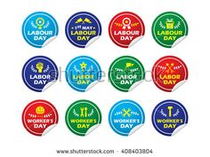 Labor/ labour/ worker's day label/ badge/ sticker. EPS 10 - stock vector