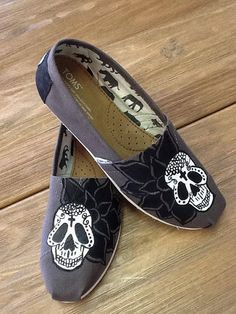 Sugar Skully Hand Painted TOMS on Etsy, $99.00