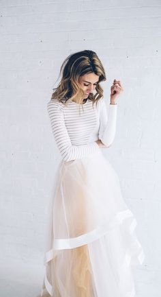 #winter #fashion / tulle skirt + stripes