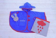 #Patron #bébé  Confectionnez un ensemble de bain et un poncho de bain assorti à son gant de toilette lapin + un sac de rangement !