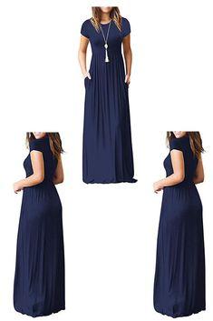 320e2ff73b Viishow Women s Short Sleeve Loose Plain Maxi Dresses Casual Long Dresses  with Pockets