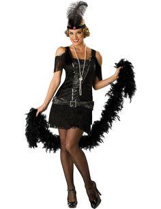 Disfraz Charlestón para mujer - Premium : Este disfraz para adulto incluye vestido, diadema y collar (medias y boa no incluidos).El vestido es de terciopelo negro con efecto corsé delimitado por lentejuelas plateadas y con el interior...